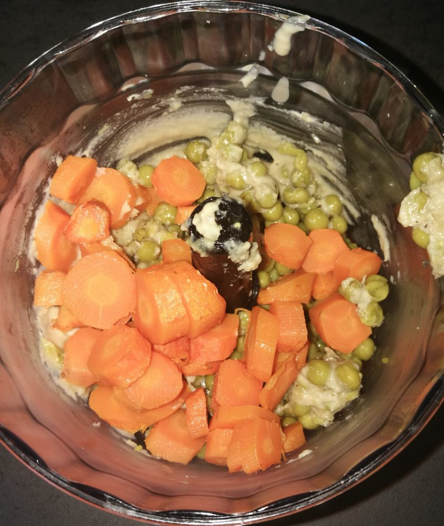 carote e piselli da frullare
