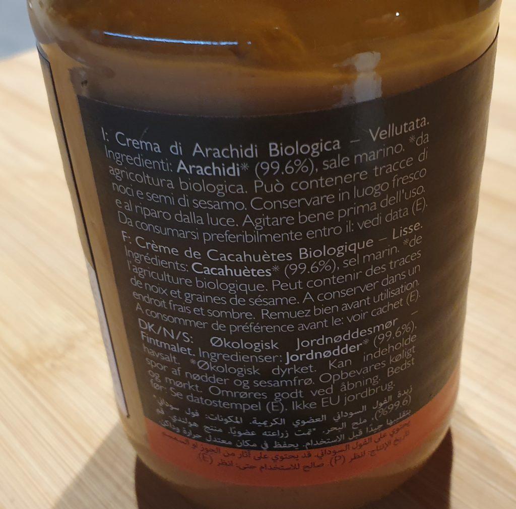 etichetta burro di arachidi