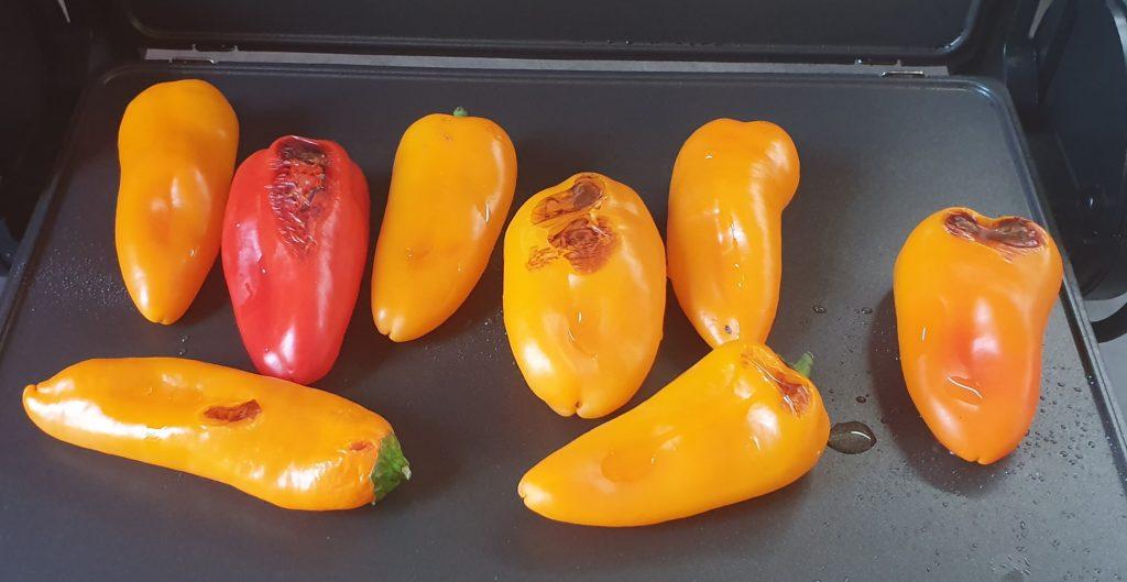 peperoni grigliati su piastra