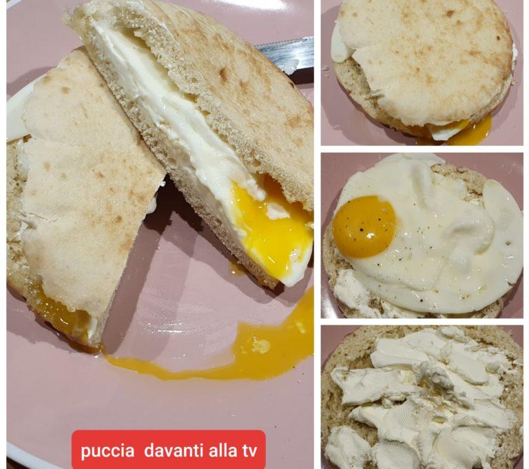 Puccia con formaggio e uovo