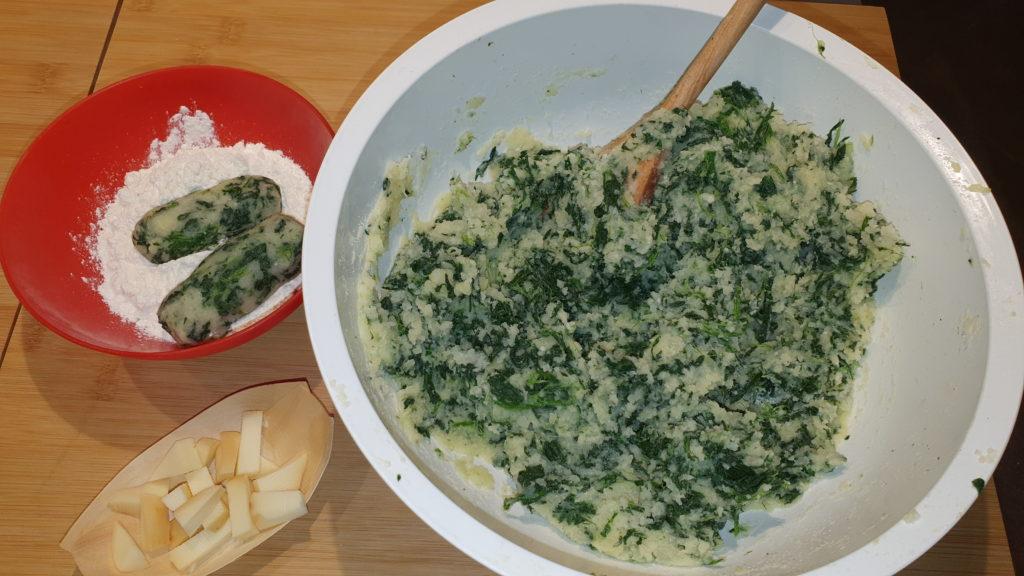 impasto delle crocchette con spinaci