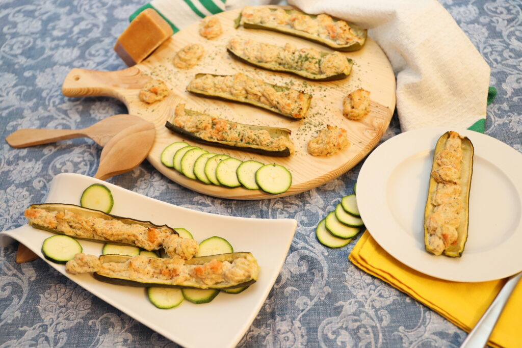 zucchine ripiene di salmone e ricotta
