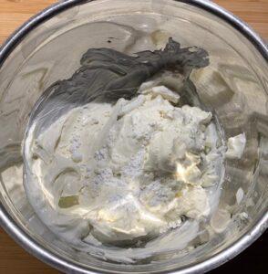 preparazione della crema di formaggio