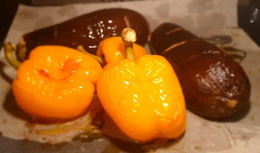 melanzane e peperoni in forno