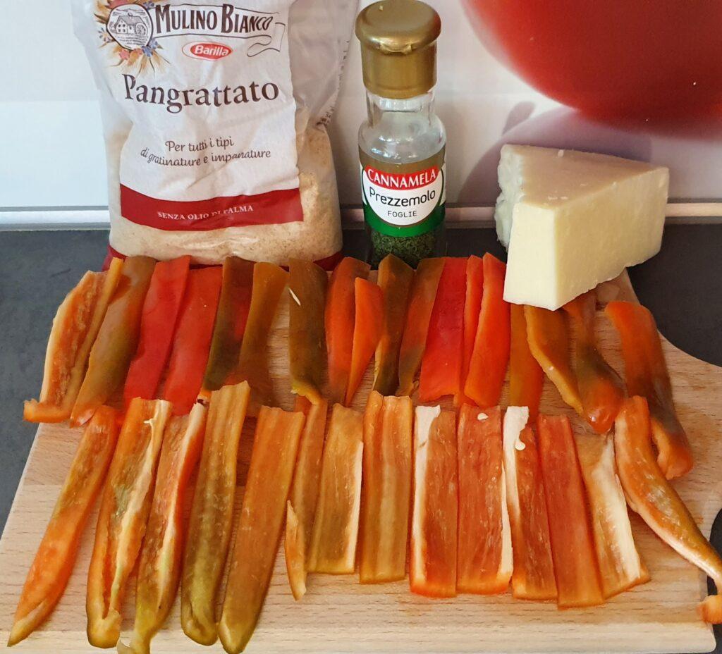 ingredienti peperoni a bastoncino panati