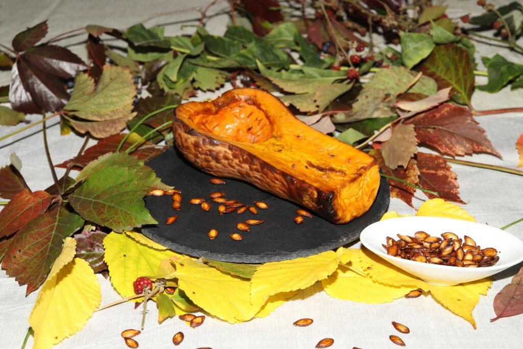 zucca al forno con semi di zuccaa tostati