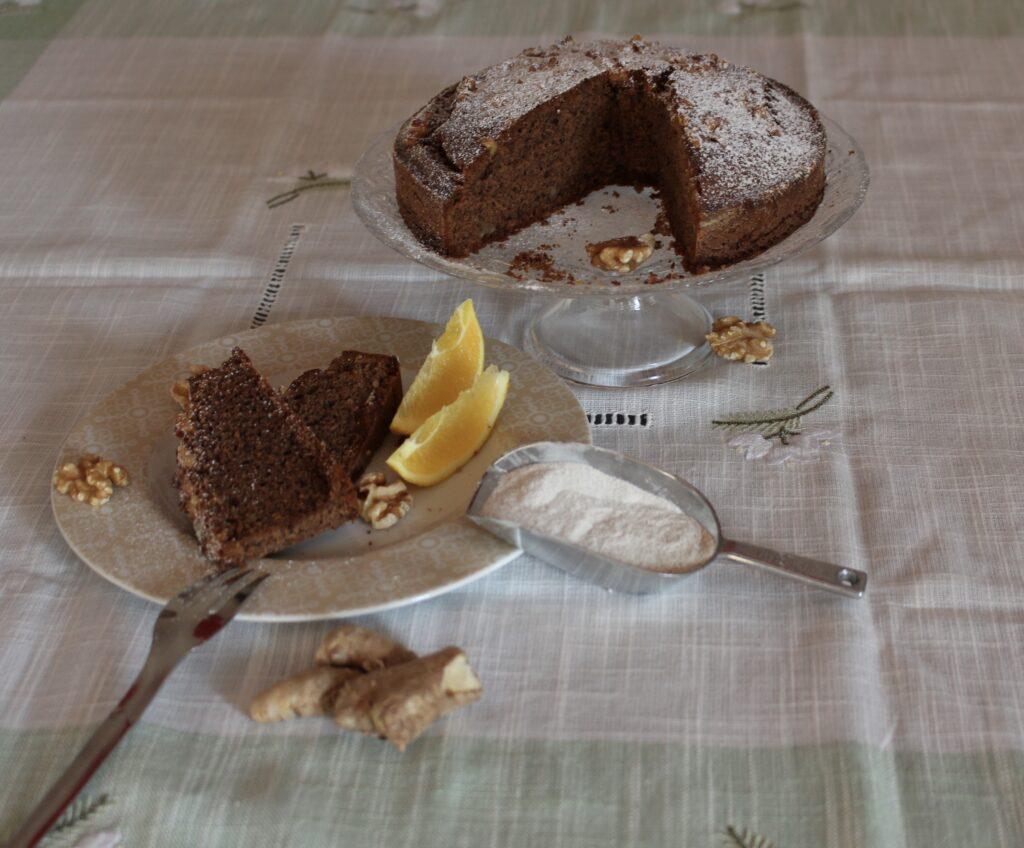 torta di grano sarace aromatizzata agli agrumino con noci