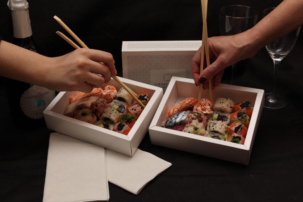 cena a base di sushi a domicilio