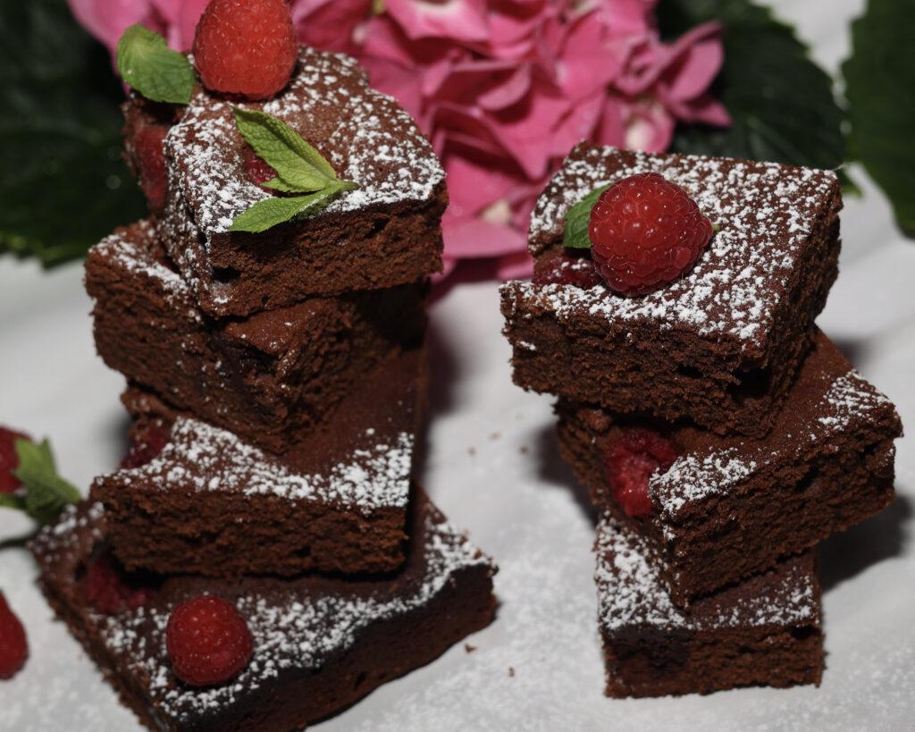 brownies doppio cioccolato e lamponi