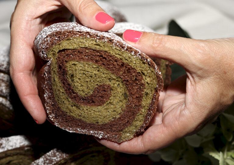 Pan bauletto tè matcha e cacao
